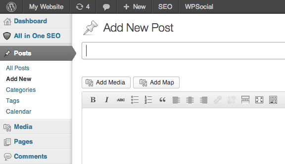 """The """"Add Maps"""" button at the top of the post from the Web Maps for WordPress plugin."""