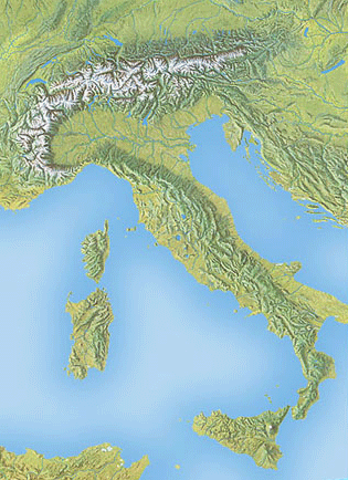 Section of a natural-color map showing Italy, painted by Hal Shelton around 1968.