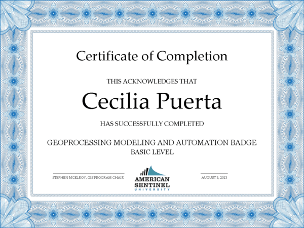 Example Geospatial Learning Lab badge from American Sentinel University.