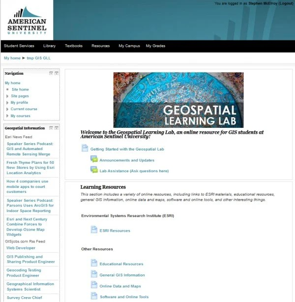 Screenshot showing the home page for the Geospatial Learning Lab at American Sentinel University.