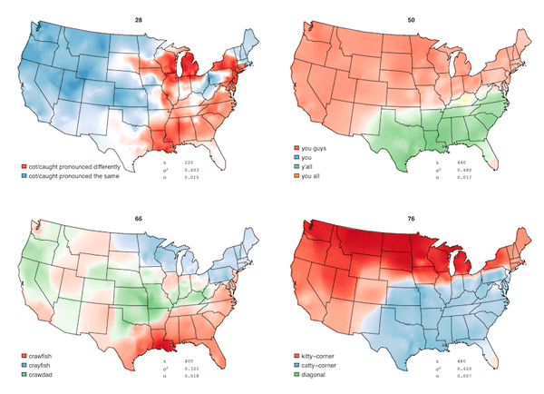 Where do Americans say what?  Map series of patterns of English speech in the United States.