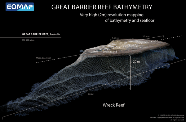 Very high resolution (2m) bathymetry map of the Wreck Reef in the south Coral Sea Islands.  The Wreck Reef got its name from the sinking of colonial ships.