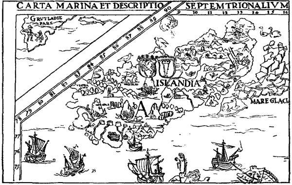 Figure II - Map of Iceland projected by Olaus Magnus  in 1589.