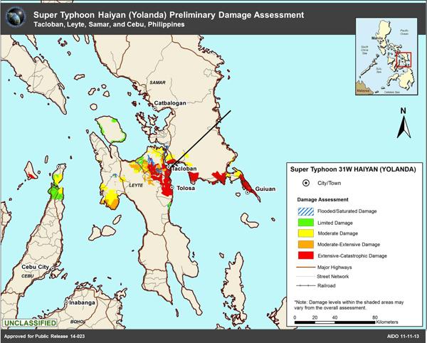 Map Showing Preliminary Damage Assessment of Super Typhoon Haiyan (Yolanda). Source: National Geospatial-Intelligence Agency 11/11/13.