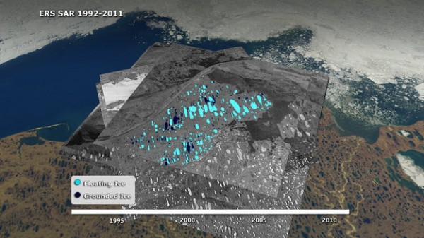 Floating ice (light blue) and grounded ice (dark blue) in lakes of Alaska's North Slope near Barrow, as seen by ESA's ERS-2 satellite in 2011.