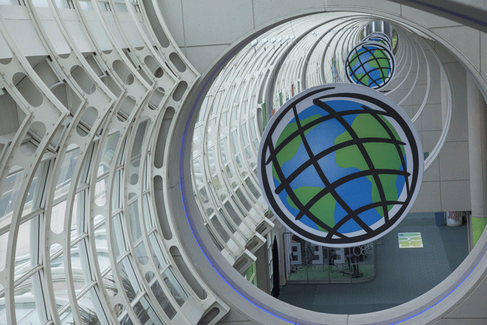The ESRI logo hangs high in the San Diego Convention Center.