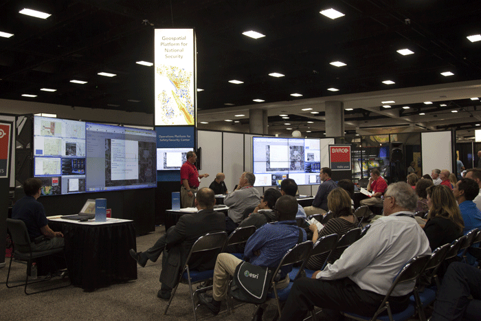 The Esri Showcases hosts several demonstrations on the exhibit floor like this one.