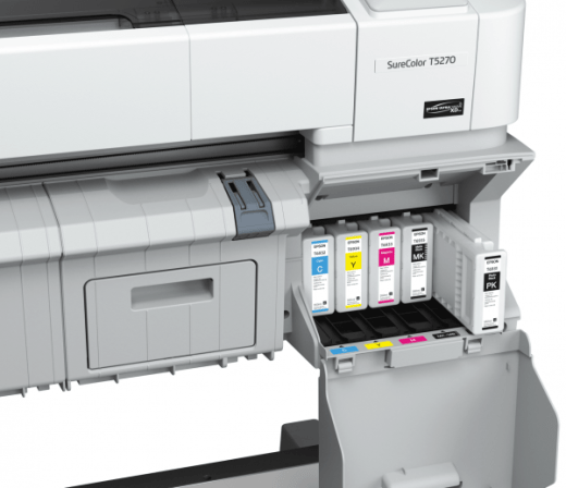 Each Epson large format printers has a 5-Color configuration: Cyan, Yellow, Magenta, Matte Black, and Photo Black.  The cartridges come in three fill sizes (110 ml, 350ml, or 700 ml) which can be mixed and matched.