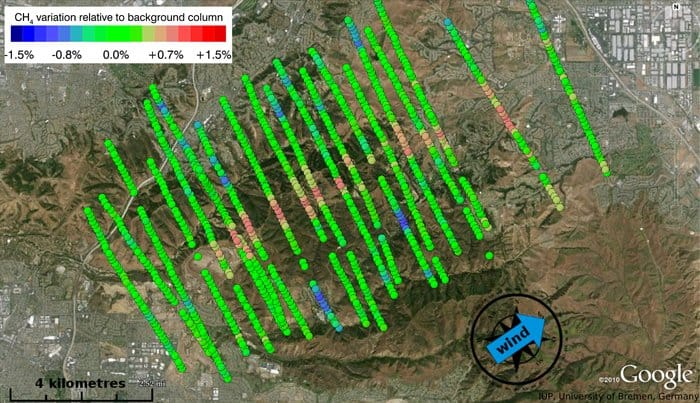 Methane plume measured during the Comex campaign to support the development of CarbonSat – one of the two candidates for ESA's eighth Earth Explorer satellite mission. The campaign was carried out in August–September 2014 in California, USA. In a joint effort, the campaign also supported the development of NASA's Hyspiri satellite. The measurements collected by Mamap on an aircraft clearly show that a landfill site near Los Angeles is emitting methane (shown in red) and that it is travelling in the same direction as the wind.