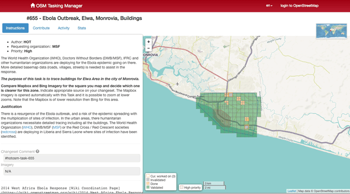 OpenStreetMap Tasking Manager for Ebola Mapping.