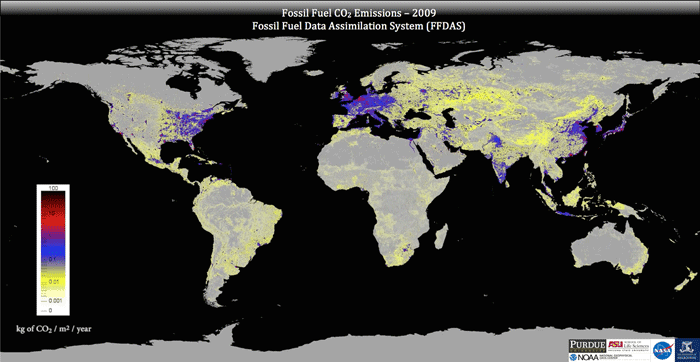 Global fossil fuel CO2 emissions as represented by the Fossil Fuel Data Assimilation System (FFDAS).