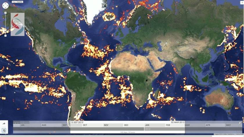 Atlantic view of fishing activity on Global Fishing Watch.