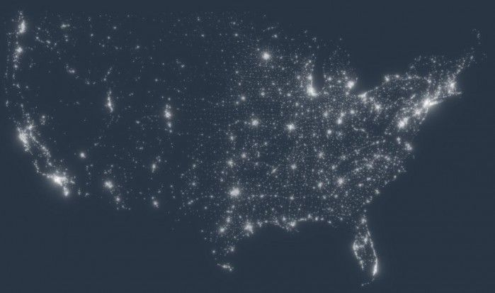 Imagery of Light Pollution in the USA from space, compliments the Nation Oceanic & Atmospheric Administration