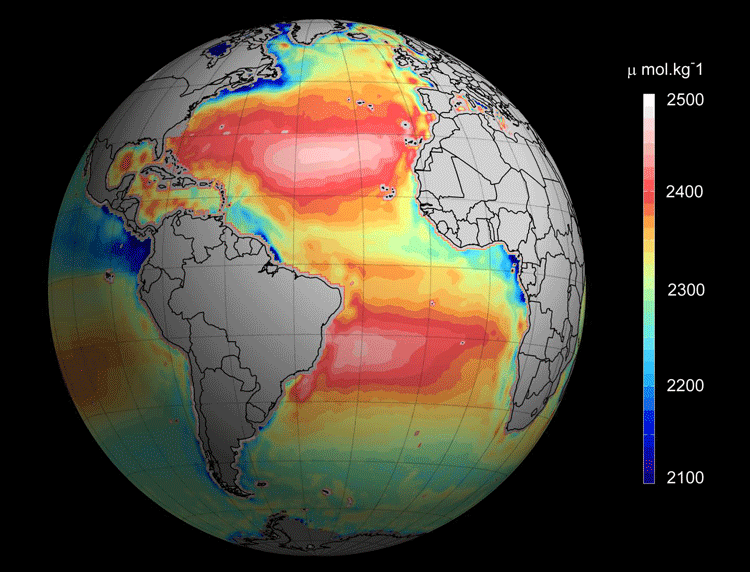 The map created from satellite measurements displays how much the ocean varies in acidity. Areas that are reddish in color are more alkaline or basic, and this means that they have more room to absorb carbon dioxide floating in the atmosphere.  Image: Ifremer/ESA/CNES