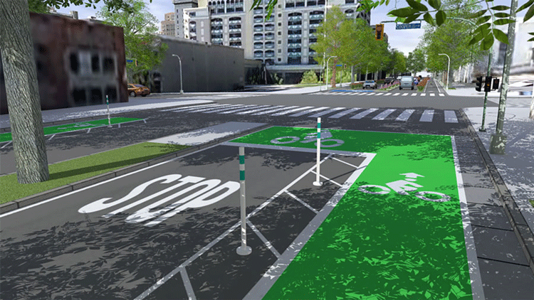 Streetscape design using CityEngine. Source: Esri