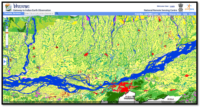 Flood hazard map of Kamrup Dt. overlaid with Land Use Cover (2011-2012)