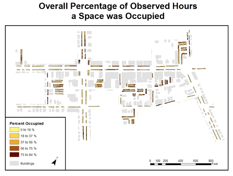 Figure 1.0: This map displays the overall percentage of observed hours that a space was occupied over the six-day study.
