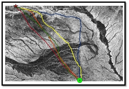 Least cost path routes with weighted overlays (1,2,3) vis-a-vis the Ogallala Aquifer Case Study (Keystone XL pipeline, Nebraska)