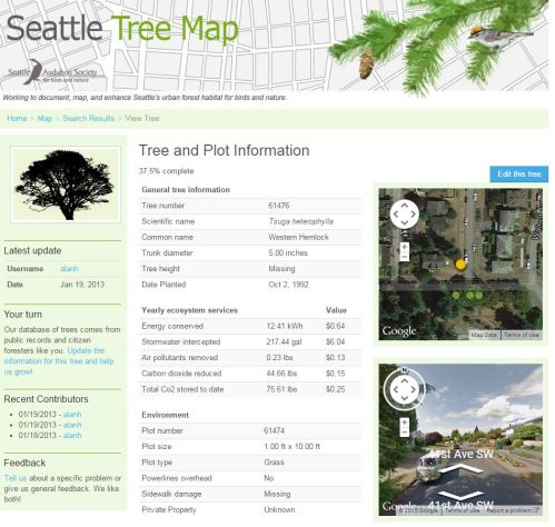 Seattle tree map