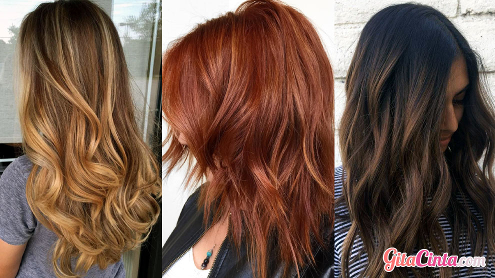Warna rambut: caramel blonde, honey copper, ashy chestnut