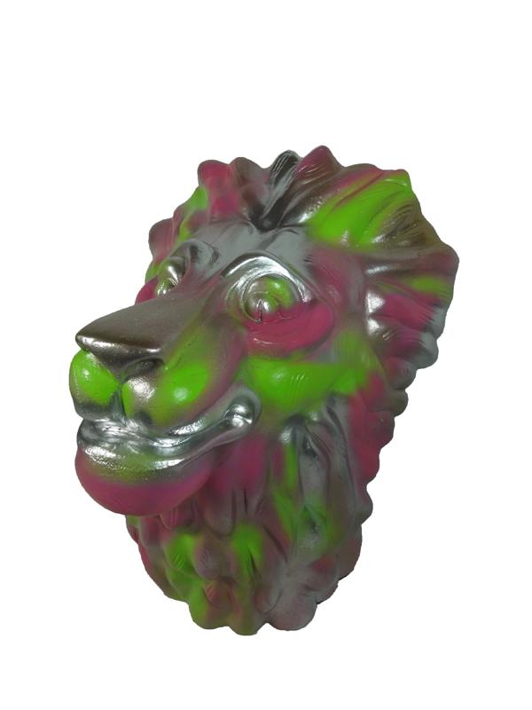 TETE DE LION - Alu peint - Pièce unique