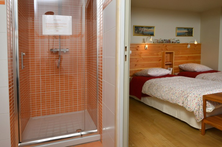 Une chambre avec salle d'eau attenante