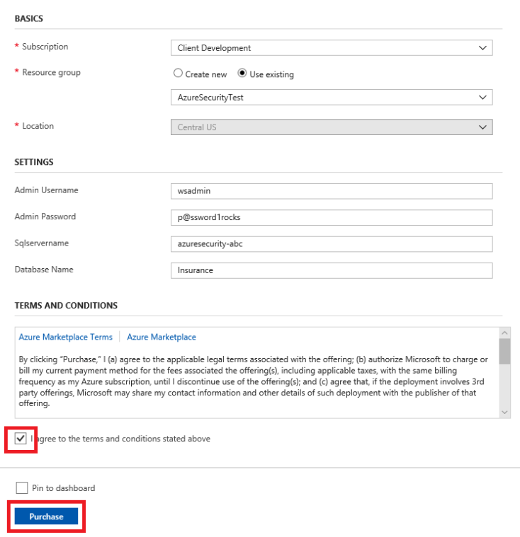 The above information is entered in the form, and I agree to the terms and conditions stated above and Purchase are selected and highlighted at the bottom.