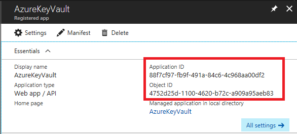 The Application ID and Object ID are called out in the Registered app blade.