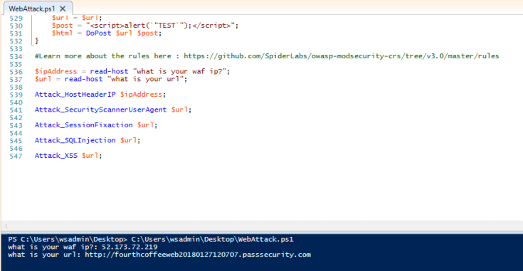 A script displays in the Windows PowerShell ISE window.