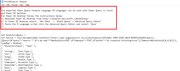 Instructions for how to execute the query in Power BI display.