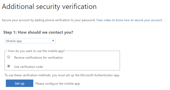 Under Additional security verification, Use verification code is selected.