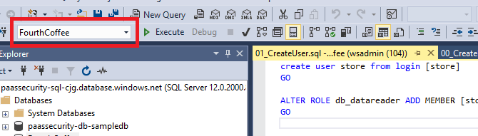 In SQL Management Studio, FourthCoffee now displays in the top toolbar drop-down field.