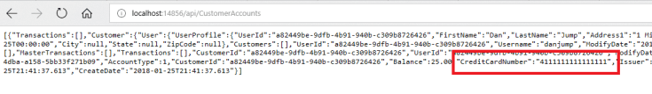 In the JSON response code, a credit card number is called out to show that all of the digits are visible.