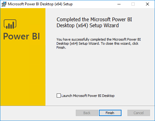 """The Completed the Microsoft Power BI Desktop screen is displayed, with the """"Launch Microsoft Power BI Desktop"""" checkbox unchecked, and the Finish button highlighted."""