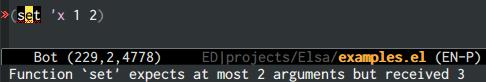 {focus_keyword} emacs-elsa/Elsa number of args 2