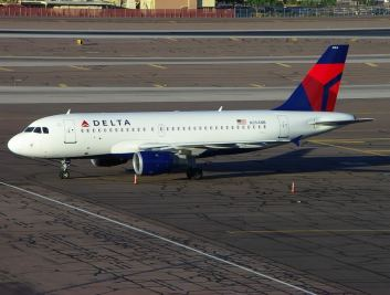 A Delta Airlines Airbus A319 (file photo). Definitely a much more comfortable way to fly than by military plane.