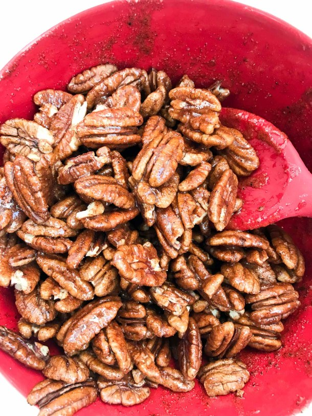 pecans mixed with sugar, egg and spices