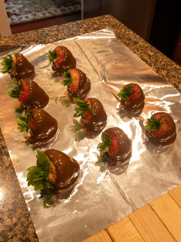 Strawberries on foil