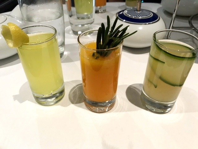 three mini cocktails