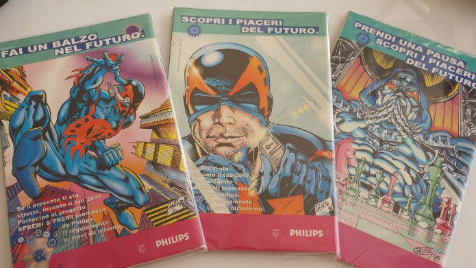 Giulio De Vita back covers for Marvel Italia comics with Spideman 2009 in Philips advertisting