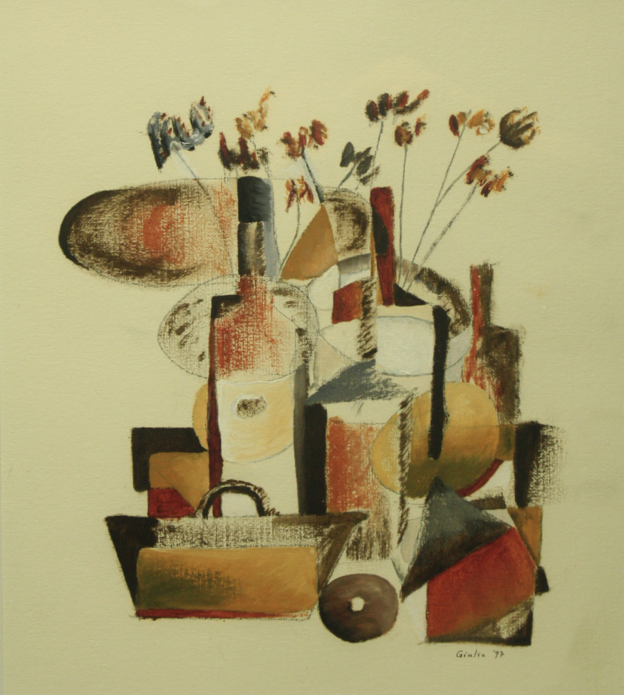 Cubist still life of dried flowers in a vase with several bottles and a basket. Framed. Oil on prepared paper.