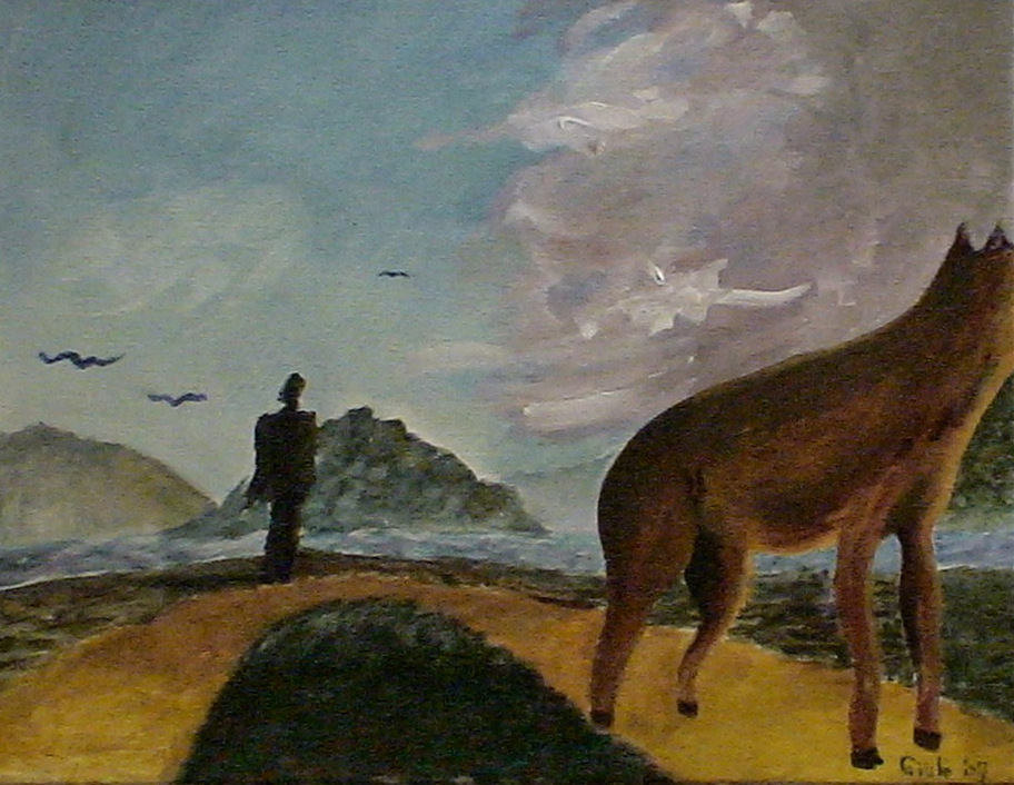 In mid-distance is a man looking ahead, out over the water. 3 birds in left sky, storm clouds in right sky. Foreground contains a four-legged animal but its face is outside the frame. It is looking in the direction of the coming storm, off to the right.