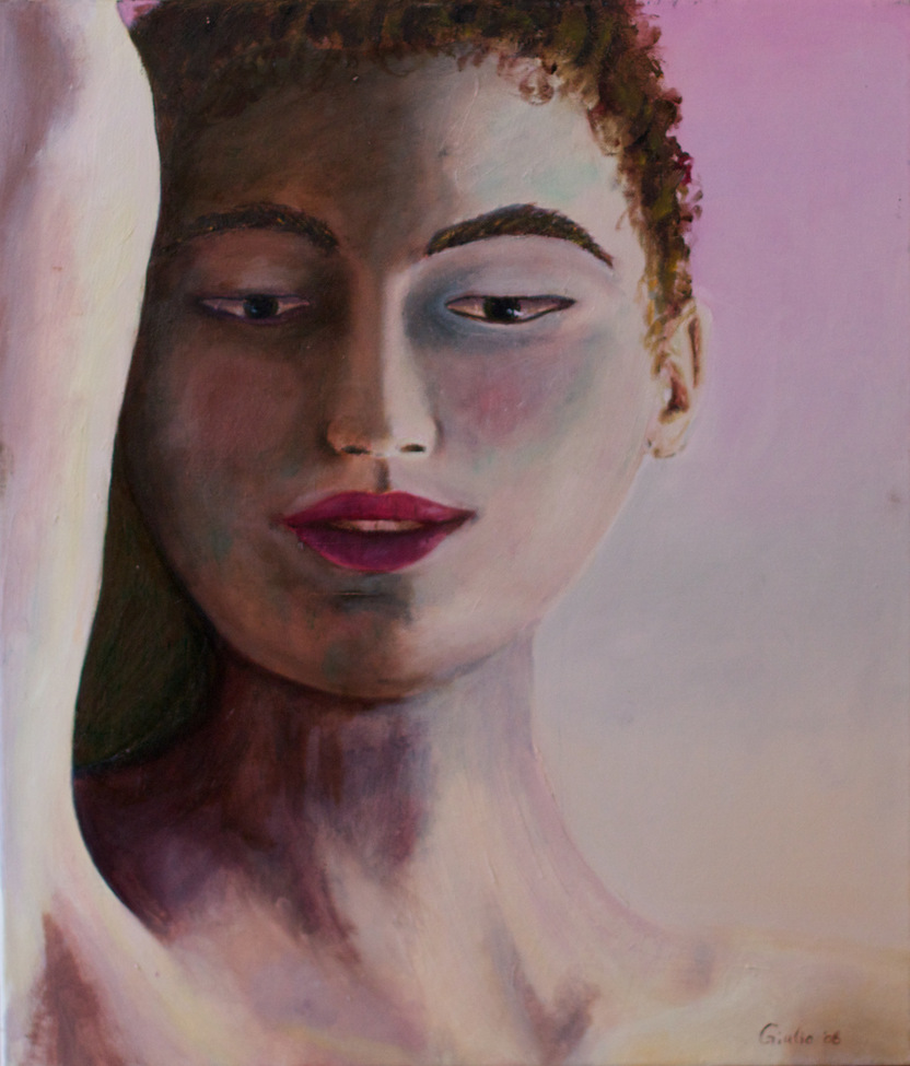 Buddha portrait with right arm uplifted. Feminine aspect. Violet toned