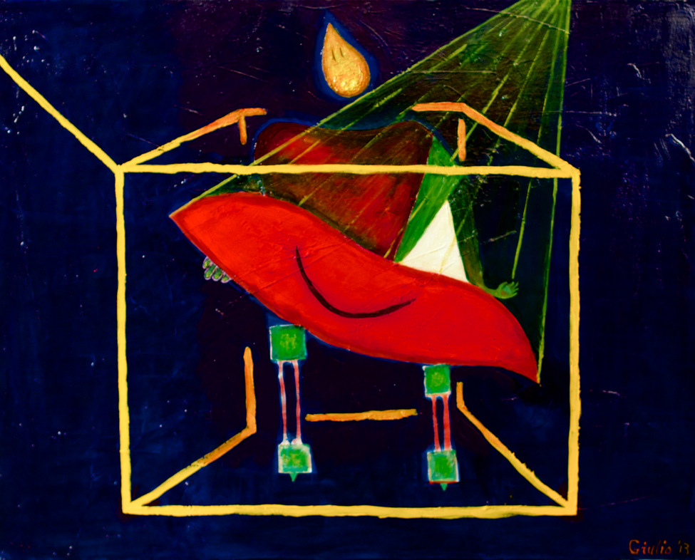 Surreal person, tear for a head holding a large pair of smiling lips. Yellow rays connect the lips to heaven and the image is contained within a golden cube outline