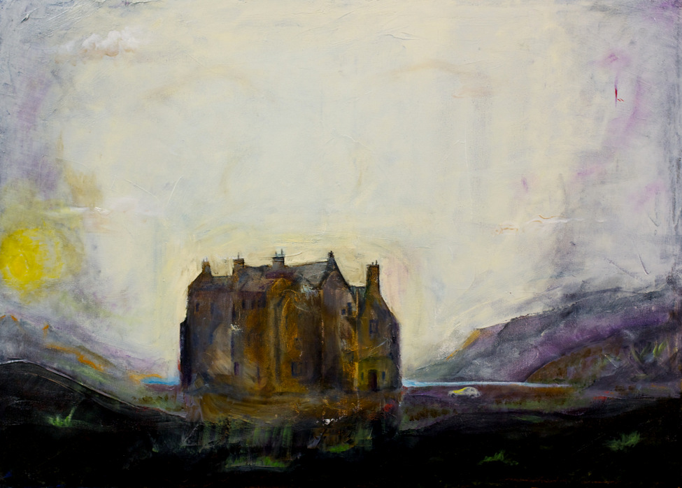 Huge mansion in a moor valley, sun rising, yet sinister feeling