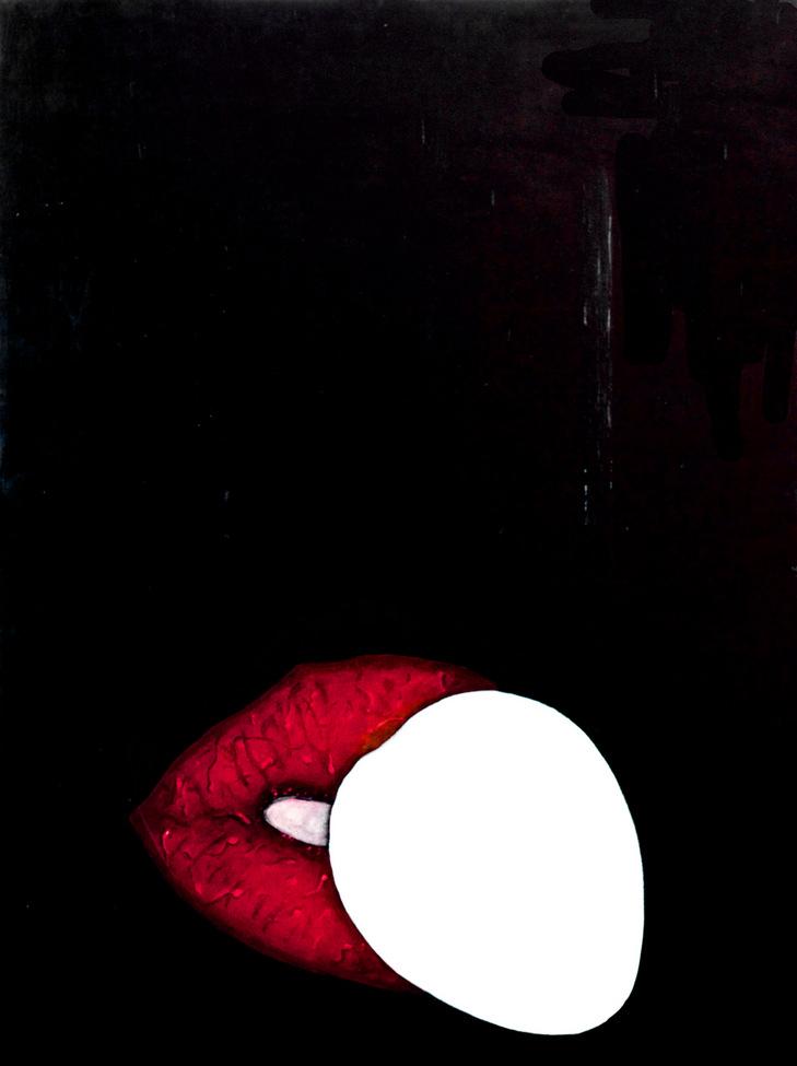 Red lips of sperm kissing an egg on black background