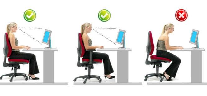 Tư thế ngồi làm việc để phòng đau vai gáy của dân văn phòng