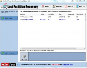 MiniTool Recover Lost Partition