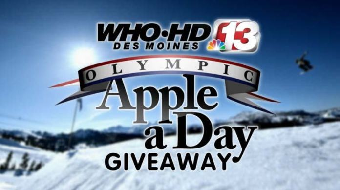 WHO TV Channel 13 Olympic Apple A Day Giveaway