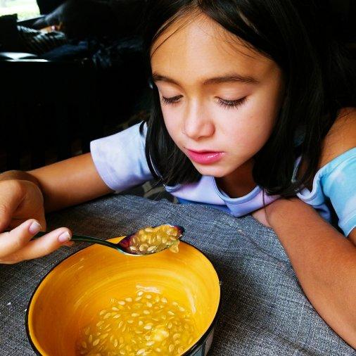 Chloe eating the kiwano horned melon